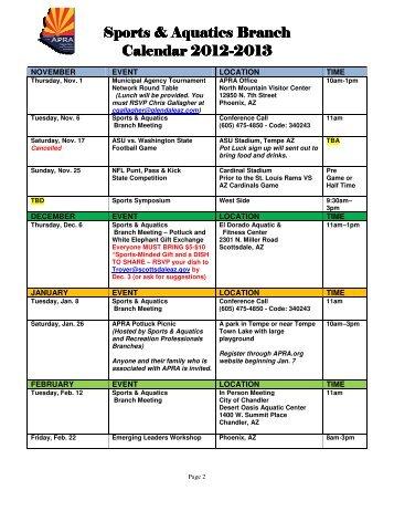 Sports & Aquatics Branch Sports & Aquatics Branch Calendar 2012 ...