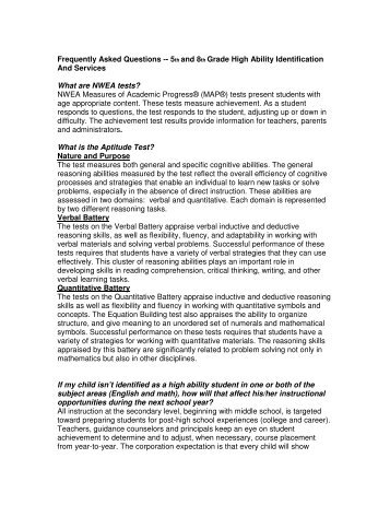 Frequently Asked Questions -- 5th and 8th Grade High Ability ...