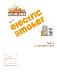 Recipes Operating Instructions - Smokehouse Products