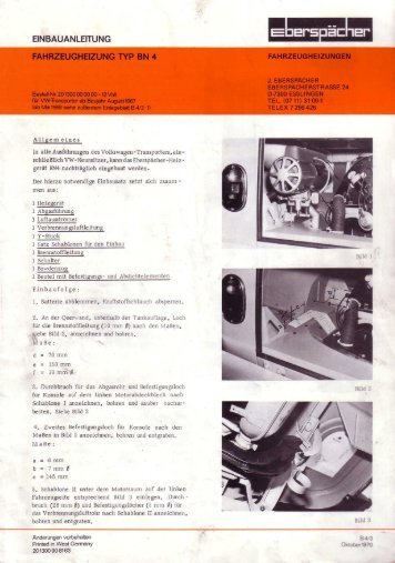 FAHRZEUGHEIZUNG TYP BN 4 - Baduras Volkswagen T2-Bulli Seite