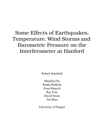 Some Effects of Earthquakes, Temperature, Wind Storms and ... - LIGO