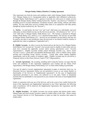 Online Trading Terms Conditions - Morgan Stanley Smith Barney