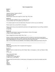 Title VI Complaint Form Section I: Name: Address: Telephone ...