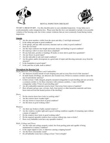 RENTAL INSPECTION CHECKLIST TO GET A HEAD START…Use ...