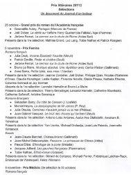 Prix littéraires 20112 Sélections