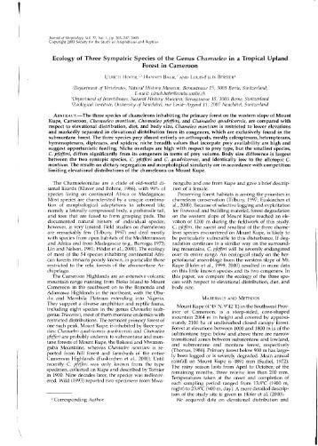 Ecology of Three Sympatric Species of the Genus - Institute of ...