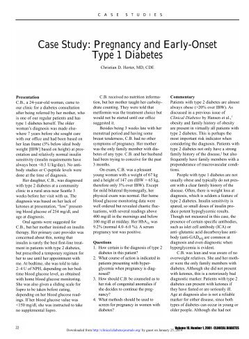 Case Study: Pregnancy and Early-Onset Type 1 ... - Clinical Diabetes