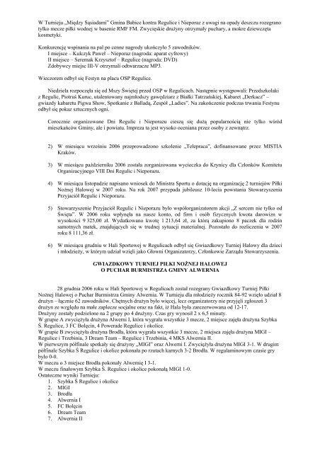 Sprawozdanie merytoryczne Stowarzyszenia Przyjaciół Regulic i ...
