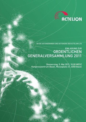 ORDENTLICHEN GENERALVERSAMMLUNG 2011 - Actelion