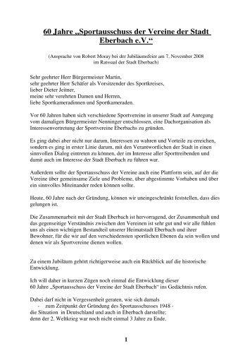 """60 Jahre """"Sportausschuss der Vereine der Stadt Eberbach e.V."""""""