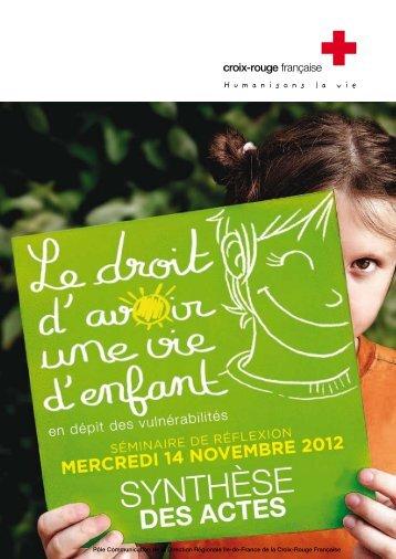 """Actes synthétiques du séminaire """"Droit d'avoir une vie d'enfant"""""""