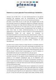 Statement zu unserer geplanten Firmenansiedlung in Heddesheim