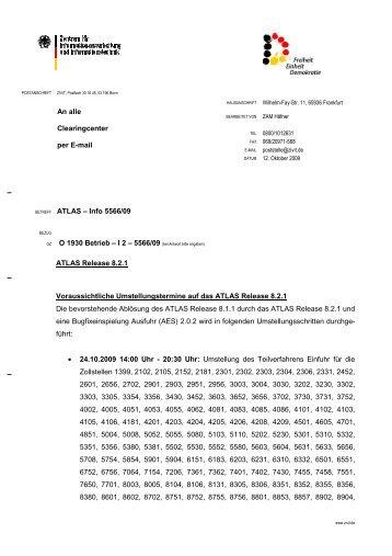 An alle Clearingcenter per E-mail ATLAS – Info 5566/09 O ... - KIS