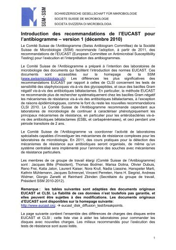 EUCAST et CLSI - Swiss Society for Microbiology