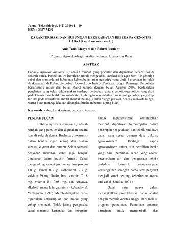 Jurnal Teknobiologi, 1(2) 2010: 1 - perpustakaan universitas riau