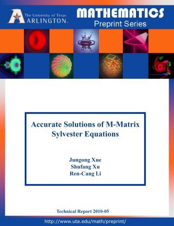 Accurate Solutions of M-Matrix Sylvester Equations - The University ...