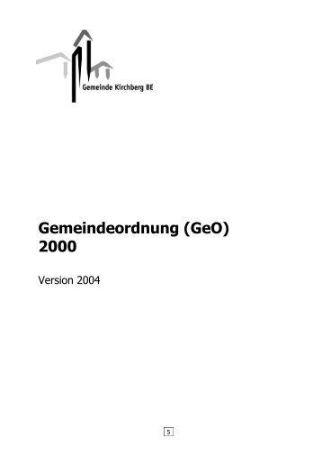 Gemeindeordnung (GeO) 2000 - zur Gemeinde Kirchberg
