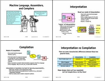 Interpretation Compilation Interpretation vs Compilation - 6.004