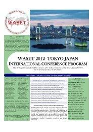waset 2012 tokyo, japan - World Academy of Science, Engineering ...