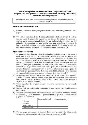 Prova de Biodiversidade e Biologia Evolutiva 2011/2 - Instituto de ...