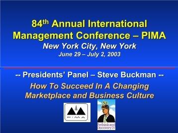 Steven B. Buckman - PIMA