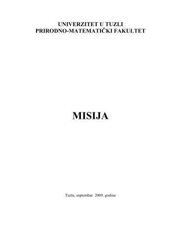 MISIJA - PMF - Univerzitet u Tuzli