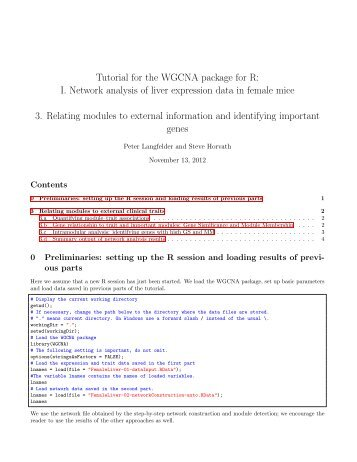 Tutorial for the WGCNA package for R - UCLA Human Genetics