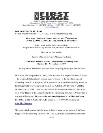 FOR IMMEDIATE RELEASE Contact Jennifer Hubbartt ... - First Stage