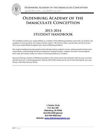 Oldenburg Academy's 2013-2014 Student Handbook