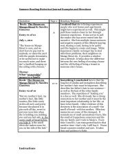 Summer Reading Dialectical Journal Examples and Directions ...