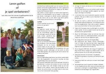 Leren golfen of je spel verbeteren? - Westfriese Golfclub