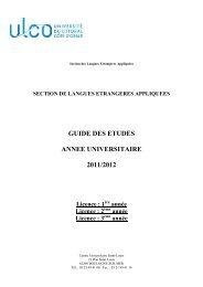 Guide des études Licence LEA Boulogne - Université du Littoral ...