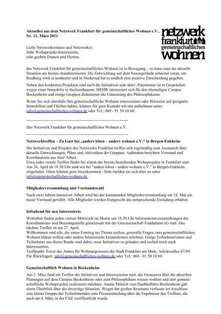 Nr.11 / März 2011 - Netzwerk Frankfurt für gemeinschaftliches ...
