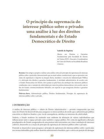 O princípio da supremacia do interesse público ... - Revista do TCE