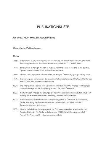 PUBLIKATIONSLISTE - of Univ.-Prof. Mag. Dr. Gudrun Biffl - Wifo