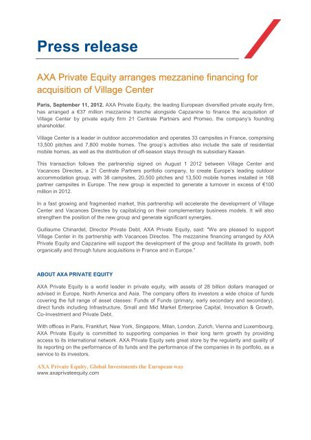 Press release - Axa Private Equity