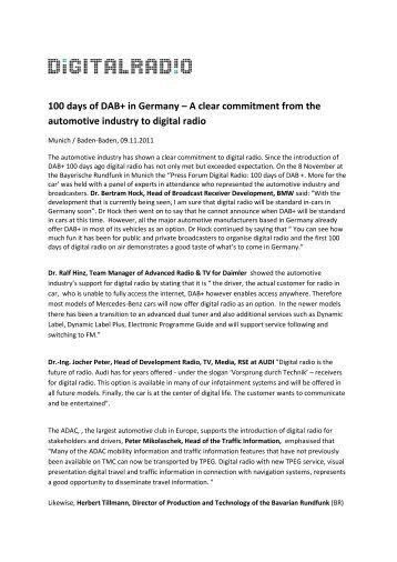 100 days of DAB+ in Germany - Bayern Digital Radio GmbH