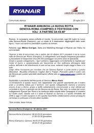 Ryanair annuncia il nuovo collegamento Genova - ROMA Ciampino ...