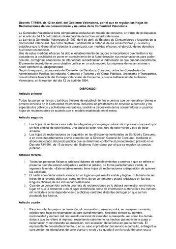 Decreto 77/1994 - El conseller de Economía, Industria, Turismo y ...