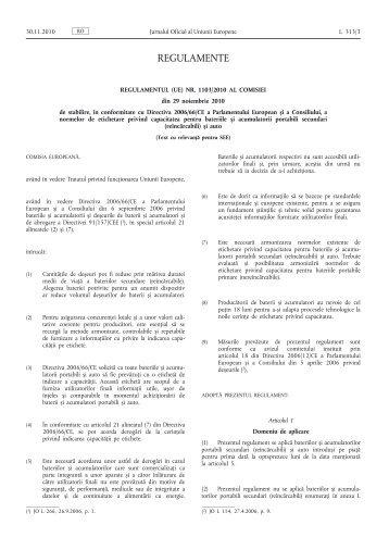 Regulamentul (UE) nr. 1103/2010 al Comisiei din 29 ... - EUR-Lex