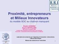 Proximité, innovation et entrepreneuriat - EconomiX