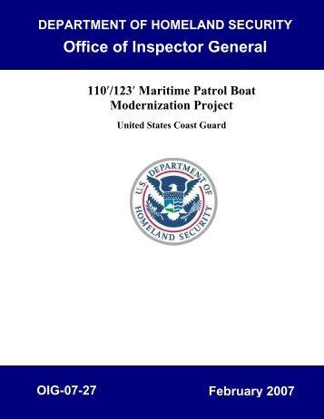 110'/123' Maritime Patrol Boat Modernization Project, United States ...