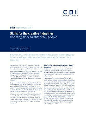 Skills for the creative industries Investing in the talents of our ... - CBI