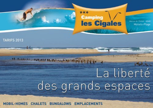 mobil-homes / chalets / bungalows / emplacements tarifs 2013