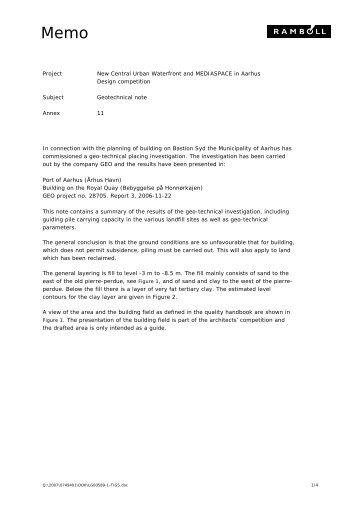 Geotechnical note, annex 11 - Urban Mediaspace Aarhus
