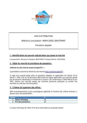AVIS D'ATTRIBUTION Référence consultation : MAPA ... - Bruitparif
