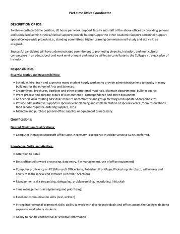 front office coordinator job description  time office coordinator description of job   edgewood