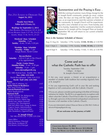 August 26, 2012 Bulletin - St. Joseph Parish