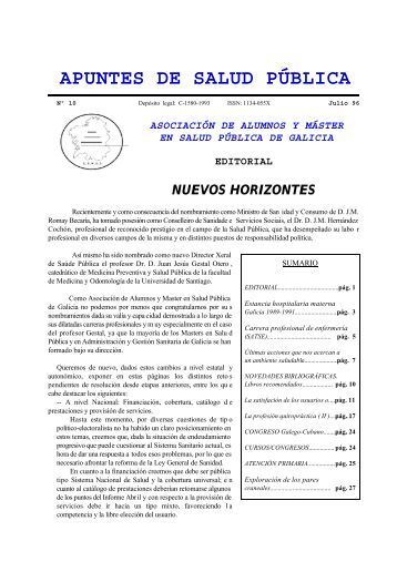 Apuntes de Salud Pública, Vol. I, Nº 10, Julio 1996 - Universidade ...