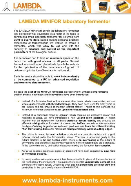 LAMBDA MINIFOR - bench-top laboratory fermenter-bioreactor